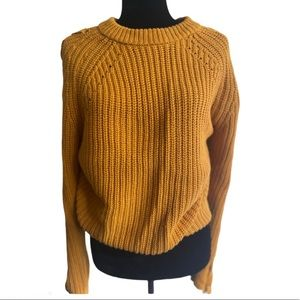 Knit ribbed mustard yellow pullover sweater XL